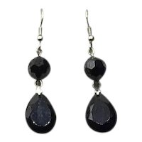 Silver Tone  Faceted Black Glass Dangle Earrings