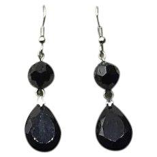 Silver Tone  Faceted Black Glass Dangle Earrings