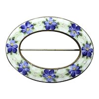 Victorian Gold Tone Enameled Guilloche Violets Sash Pin