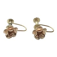 Gold Tone Rose Screw Back Earrings