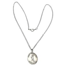 Sterling Silver St. Christopher Medal Pendant Necklace