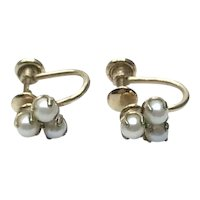 Van Dell 12K Gold Filled Simulated Pearl Screw Back Earrings