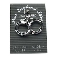Sterling Handcuff Charm NOS