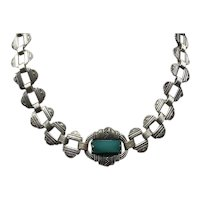 Silver Tone Faux Jade Link Necklace