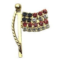 Gold Tone Flag Lapel Pin