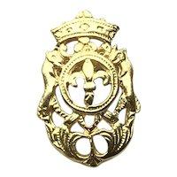 Gold Tone Shield Lapel Pin