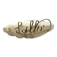 Sallie MOP Gold Filled Name Pin
