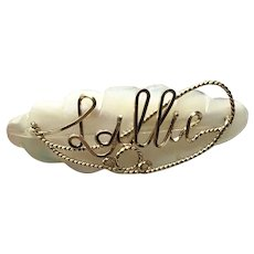 Sallie MOP Gold Filled Name Pin