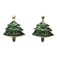 Gold Tone Enameled Christmas Tree Pierced Earrings