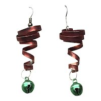 Red & Green Enamel Spiral Bell Dangle Earrings