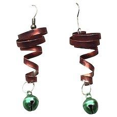 Red & Green Enamel Spiral Bell Dangle Earrings