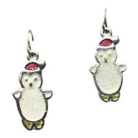 Silver Tone Enameled Snowman Dangle Earrings