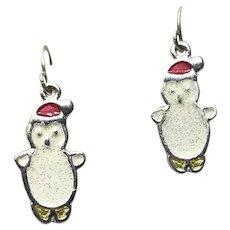 Silver Tone Enameled Snowman Dangle Earrings