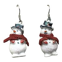 Snowman Enameled Dangle Earrings