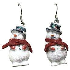 Snowman Enameled Dangle Earrings