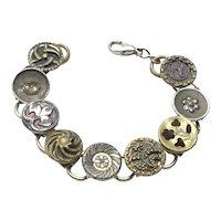Gold Tone Button Bracelet