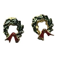 Gold Tone Christmas Wreath Enameled Earrings