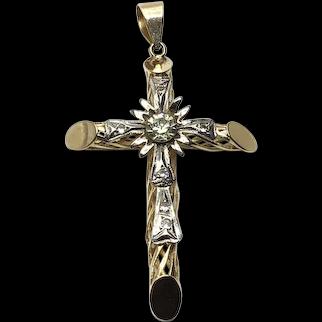 Two Tone 18K Clear Paste Ornate Cross