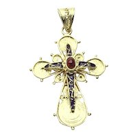 18K Gold Enameled Garnet Cross