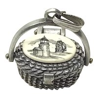 Silver Tone Nantucket Basket Lighthouse Design Pendant