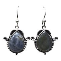 Sterling Labradorite Dangle Earrings NOS
