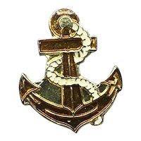 Gold Tone Enameled Nautical Anchor Lapel Pin