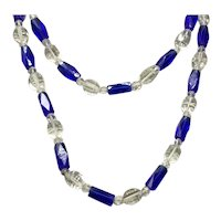 Cobalt Blue & Clear Crystal Faceted Bead Necklace