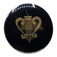 Gold Tone Black Enamel Lyre Lapel Pin