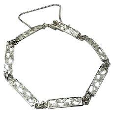 Sterling Silver Filigree Link Bracelet