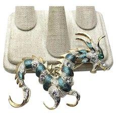 Gold Tone Rhinestone Dragon Brooch NOS
