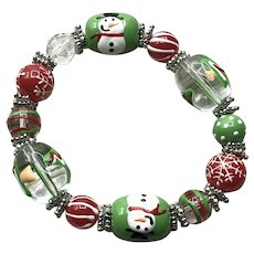 Christmas Glass Bead Stretch Bracelet