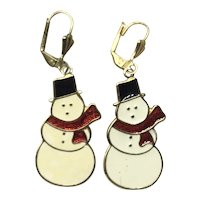 Gold Tone Enameled Snowman Dangle Earrings