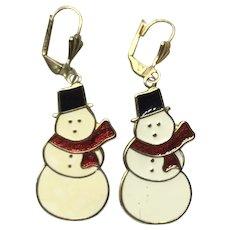 Gold Tone Enameled Snowman Dangle Earrings