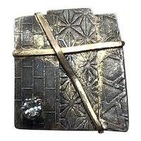 Handmade Mid Century Modern  Sterling Silver Brass & CZ Brooch