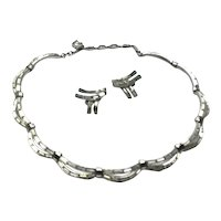 Silver Tone Metal Clear Sparkling Rhinestone Necklace & Clip Earrings
