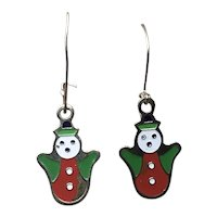 Gold Tone Enameled Dangle Snowman Earrings