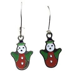 Gold Tone Enameled Dangle Snowman Earrings