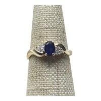 10K Gold Sapphire  & Diamond Ring Size 6 3/4