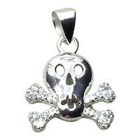 Sterling Silver  Rhinestone Skull & Cross Bones Pendant