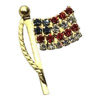 U. S. A. Gold  Tone Metal Flag Lapel Pin