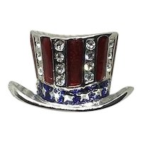 Patriotic Red White & Blue Hat Lapel Pin