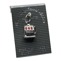Sterling Silver NOS Enameled Slot Machine Charm