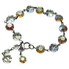 Aurora Borealis Clear Crystal Bracelet With Dangles