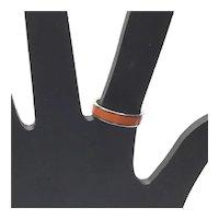 Sterling Silver Orange Enamel Ring Size 7 1/2