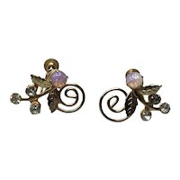 Gold Tone Rhinestone & Faux Opal Screw Back Earrings