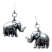 Sterling Lucky Elephant Dangle Earrings