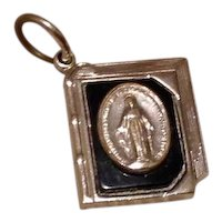Silver Tone Enameled Miraculous Medal