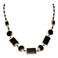 Gold Tone Black Glass Necklace