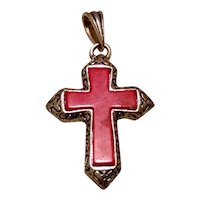 Silver Tone Red Cross Pendant