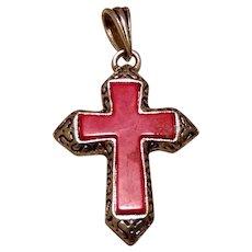Silver Tone Red Cross Pendant